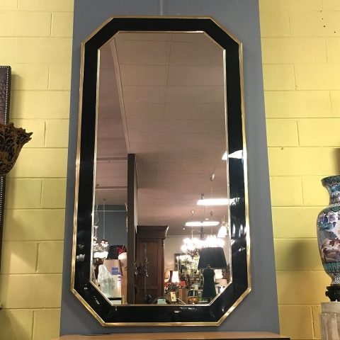 1970s Glass and Brass Mirror