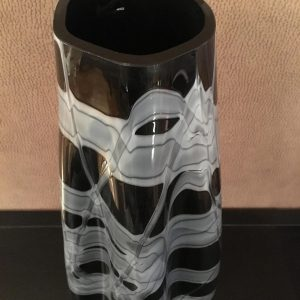 1980s Black Glass Italian Vase
