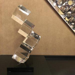 Italian Designer Crystal Sculpture Signed Fontana