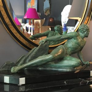 French Art Deco Spelter by Roncourt