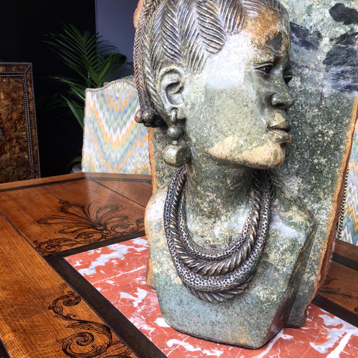 Vintage verdite stone sculpture of a princess capocchi