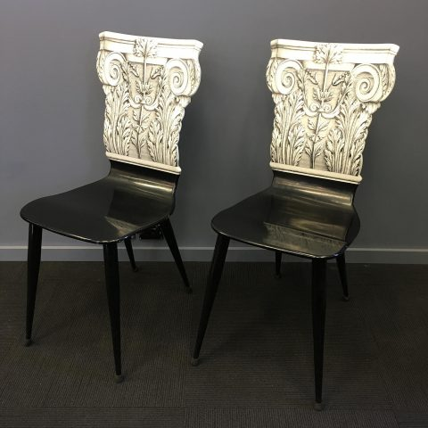 Italian Lacquer Chairs by Fornasetti