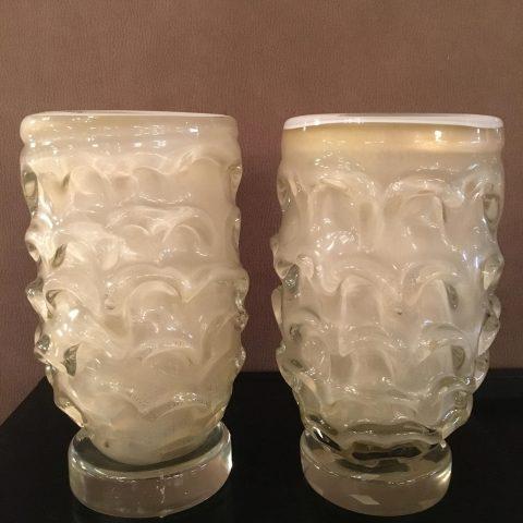 Pair of Vintage Italian Glass Vases