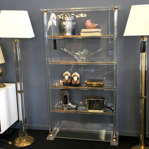 Italian Lucite and Brass Shelves