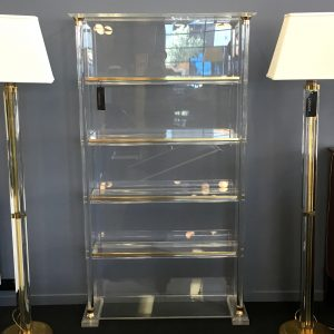 Italian Lucite and Brass Shelves