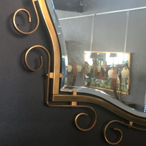 Vintage French Brass Mirror
