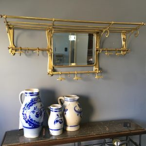 French Brass Coat and Hat Rack