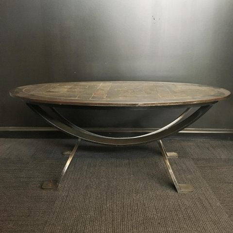 Belgian Made Wrought Iron and Slate Coffee Table