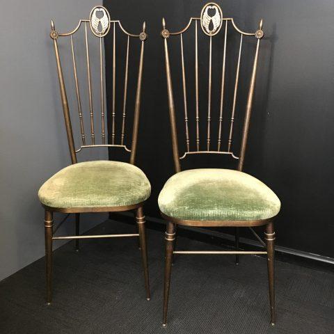 Pair of Parisian Brass Chairs