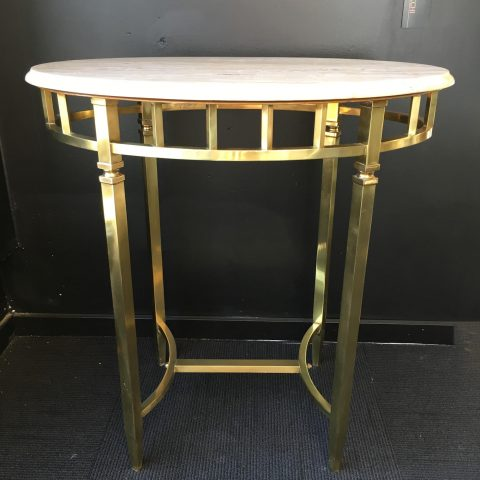 French Marble Topped Brass Occasional Table