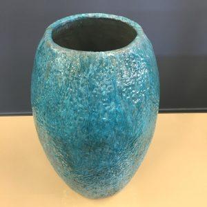 Turquoise Glazed Italian Floor Vase