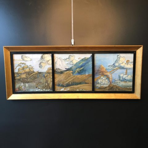 Framed Hand Painted Tiles Signed by the Artist