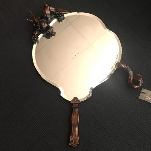 Rare Wall Mirror with Carved Dragon by Gabriel Viardot