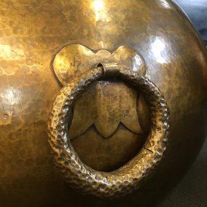 Vintage Moroccan Hand Beaten Brass Floor Vase