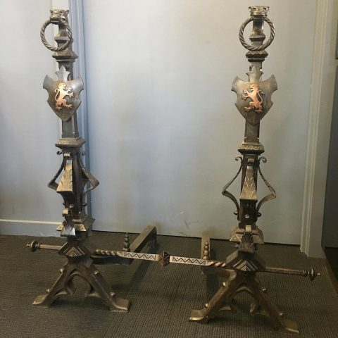 Antique French Wrought Iron Fire Dogs