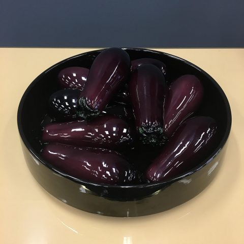 Collection of Nine Italian Murano Glass Eggplants in a Dish