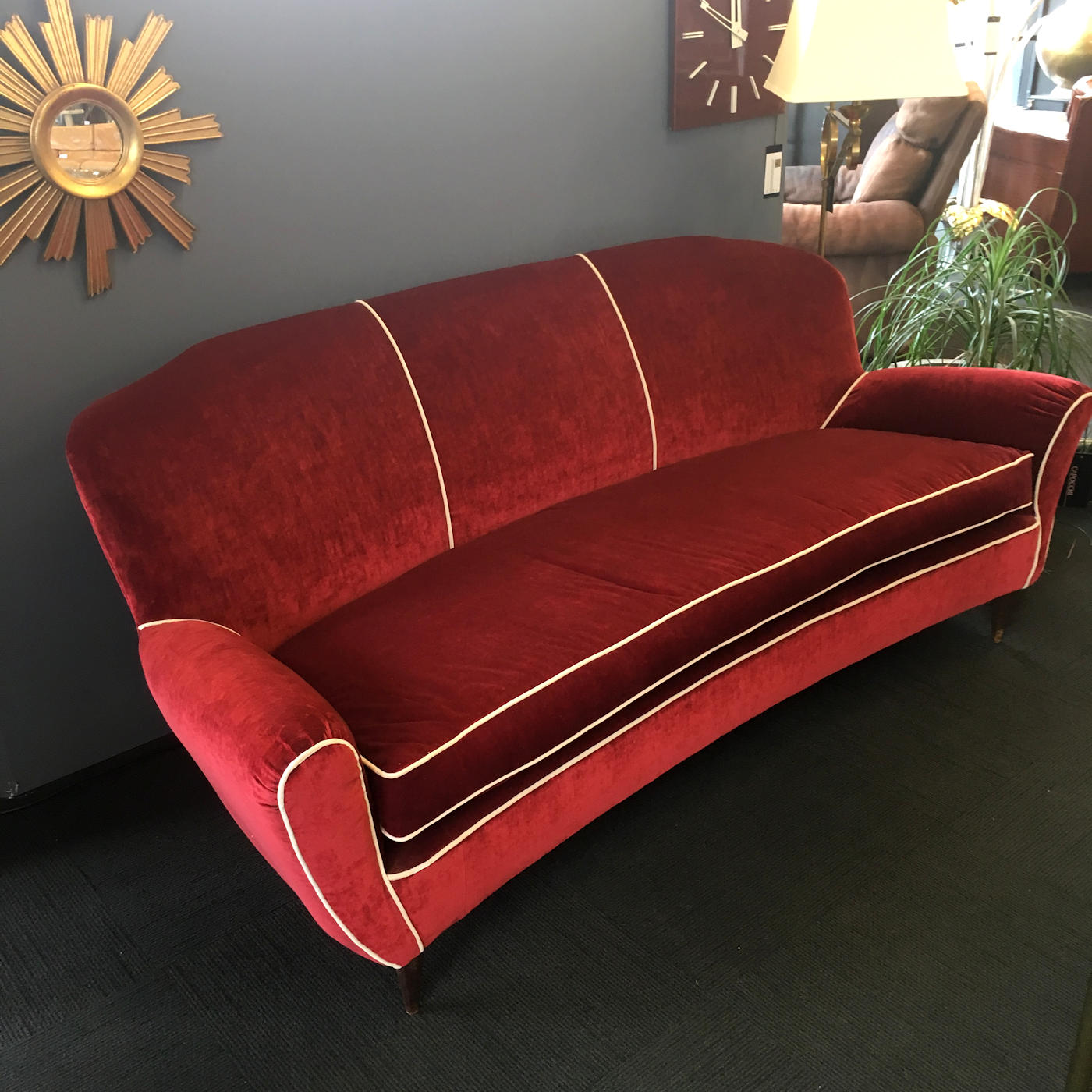 Red Velvet Italian Sofa from the 1950s