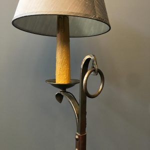 Unusual Blacksmithed Wrought Iron Floor Lamp