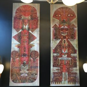 Pair of Tribal Influenced Paintings on Textile Base