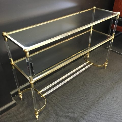 Lucite and Brass Tiered Console