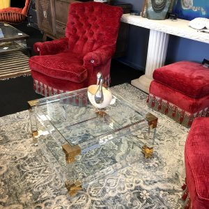 Eichholtz Lucite and Brass Tiered Coffee Table