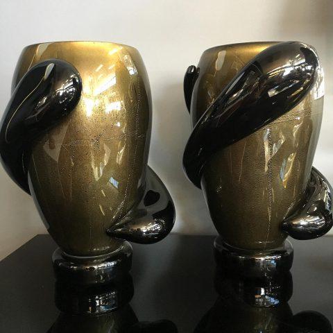 Pair of Black Murano Glass Vases