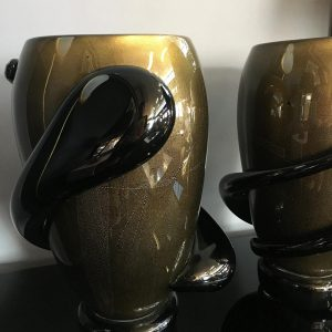 Pair of Black Murano Glass Vases