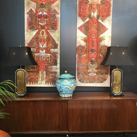 Pair of Italian Brass and Black Glass Decorative Table Lamps