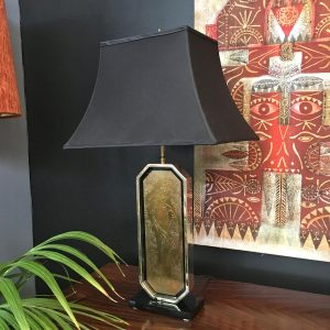 Pair of Belgian Brass and Black Glass Decorative Table Lamps