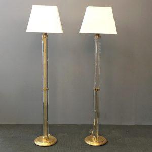 Two Italian Plexiglass and Brass Floor Lamps