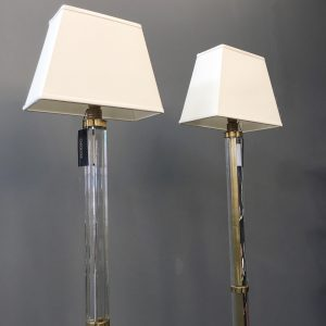Two Italian Plexiglass and Brass Floor Lamps