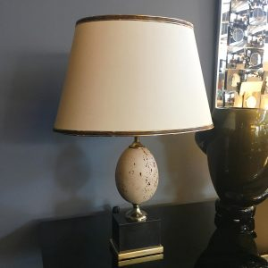 Pair of Maison Charles Travertine Egg Table Lamps