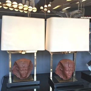 Pair of French sculptural Maison Jansen Lamps