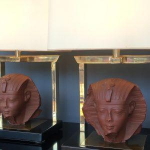 Pair of French sculptural Maison Jansen Lamps