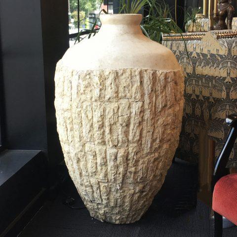 Italian carved Travertine Floor Vase