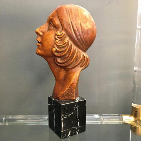 French Art Deco Terracotta Bust