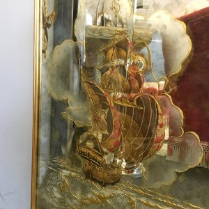 French 1940s Verre Eglomise Mirror