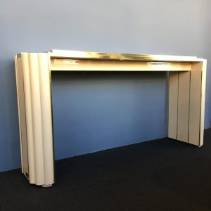 Ivory Lacquer and Bronze Console Table by Alain Delon