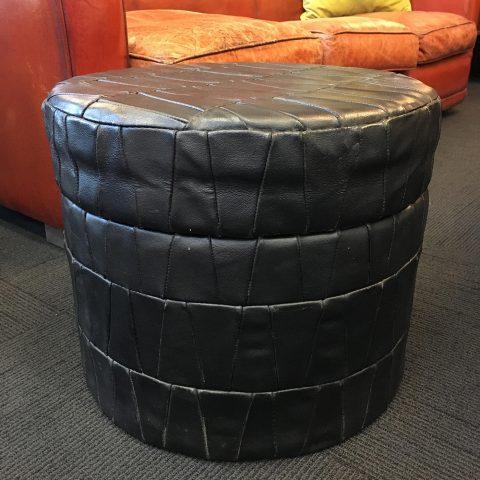 Italian Leather Lidded Storage Tub