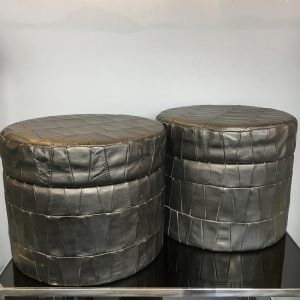 Pair of Italian Leather Lidded Storage Tubs
