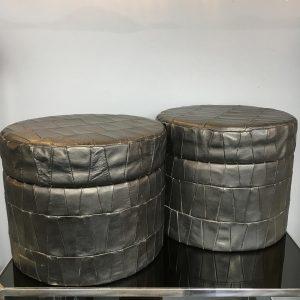 One Italian Leather Lidded Storage Tub