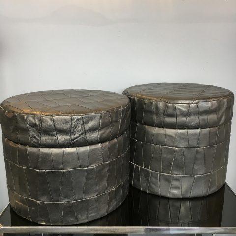 Pair of Italian Leather Lidded Storage Tubs