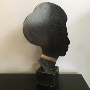 Carved Ebony Bust Made in Belgium
