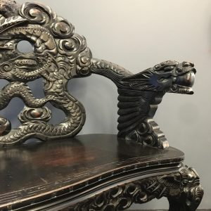 Intricately Carved Antique Japanese Bench