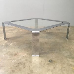 Mid Century Italian Low Chrome Coffee Table