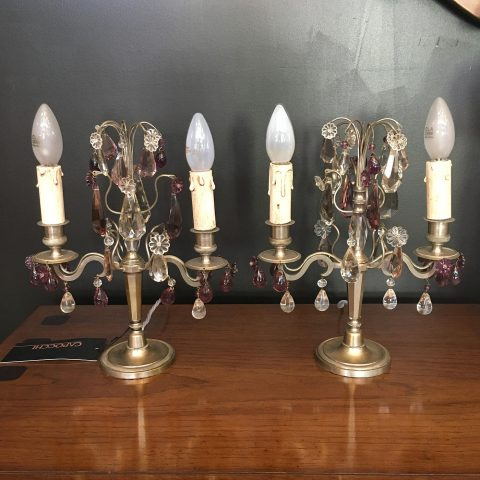 Pair of French Table Lamps with Crystal Drops