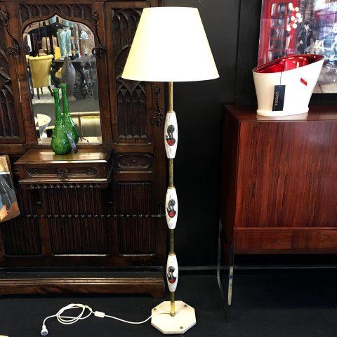 Italian Brass and Ceramic Mid Century Floor Lamp