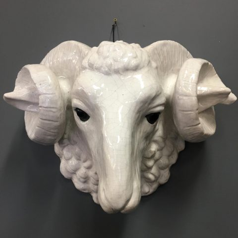 French 1940s Terracotta Rams Head