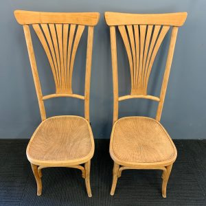 Pair of Austrian High Back Chairs