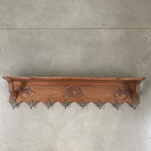 French Carved Oak Coat and Hat Rack